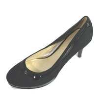 Nine West Canvas Pumps Shoes Heels Women Size 7M Black Herringbone 3.5 i... - $19.79