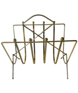 Brass Magazine Rack Holder Retro MCM Free Standing Caddy Storage  - $24.99