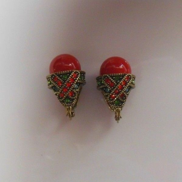 Vintage Signed CN Red Cabochon & Multi-Color Crystal Dome Style Earrings