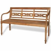 vidaXL Teak Wood Garden Bench Outdoor Home 3-Seater Furniture Patio Park... - $130.99