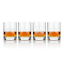 Glass Tumblers, Admiral Etched Whiskey Label Crystal Insulated Glass Tum... - $67.49