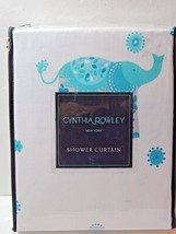 "Cynthia Rowley Fabric Shower Curtain Aqua Decorated Elephant 72"" x 72"" New - $53.00"
