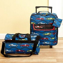 Boys Luggage Set Kids Travel Rolling Suitcase Duffel Bag Coin Pouch Cars... - $43.07
