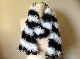 Black White Striped Magic Fuzzy Circle Scarf Can Be Worn Multiple Ways NO TAGS image 5