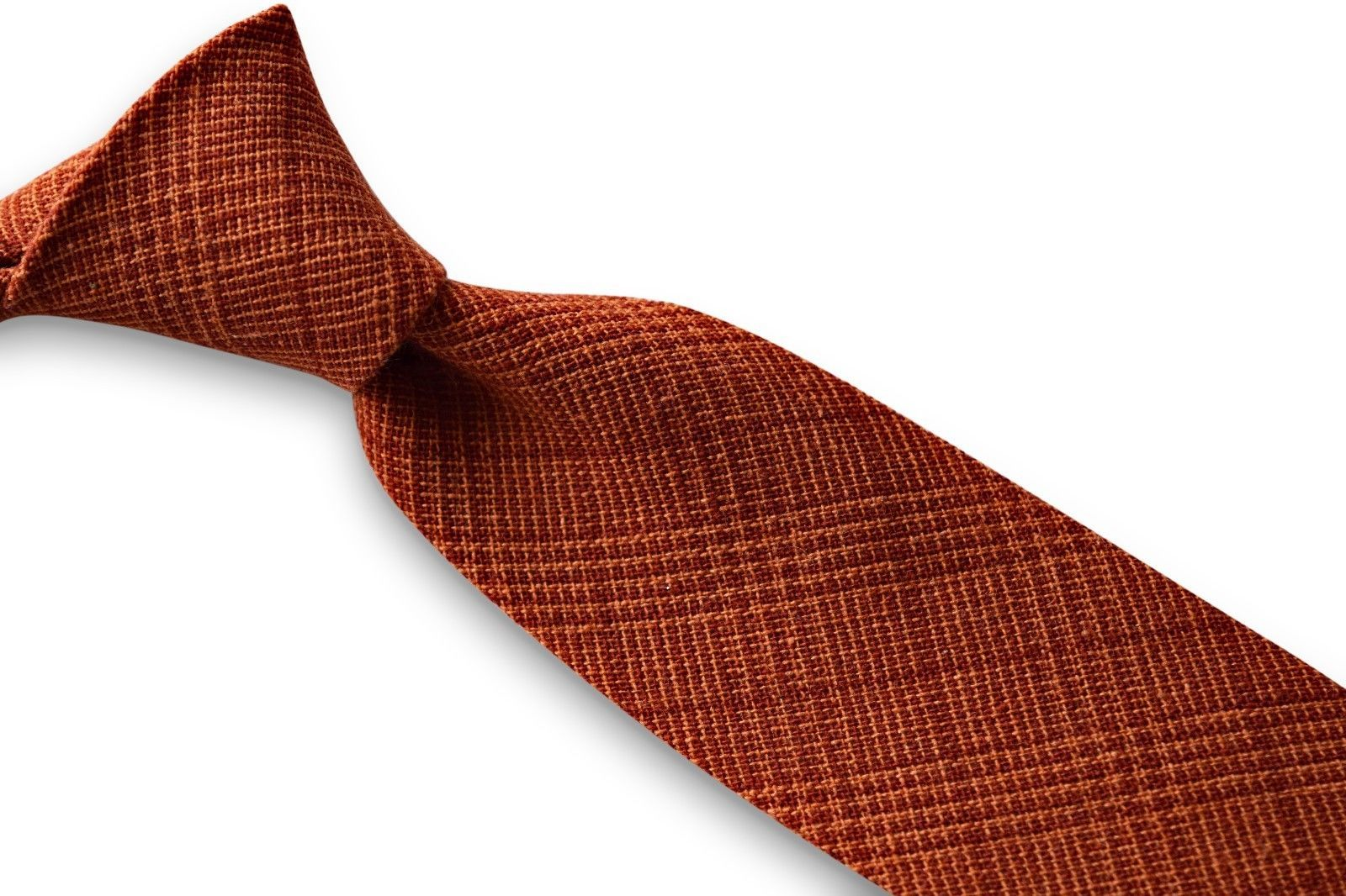 Frederick Thomas orange and red check mens 100% linen tie FT3368