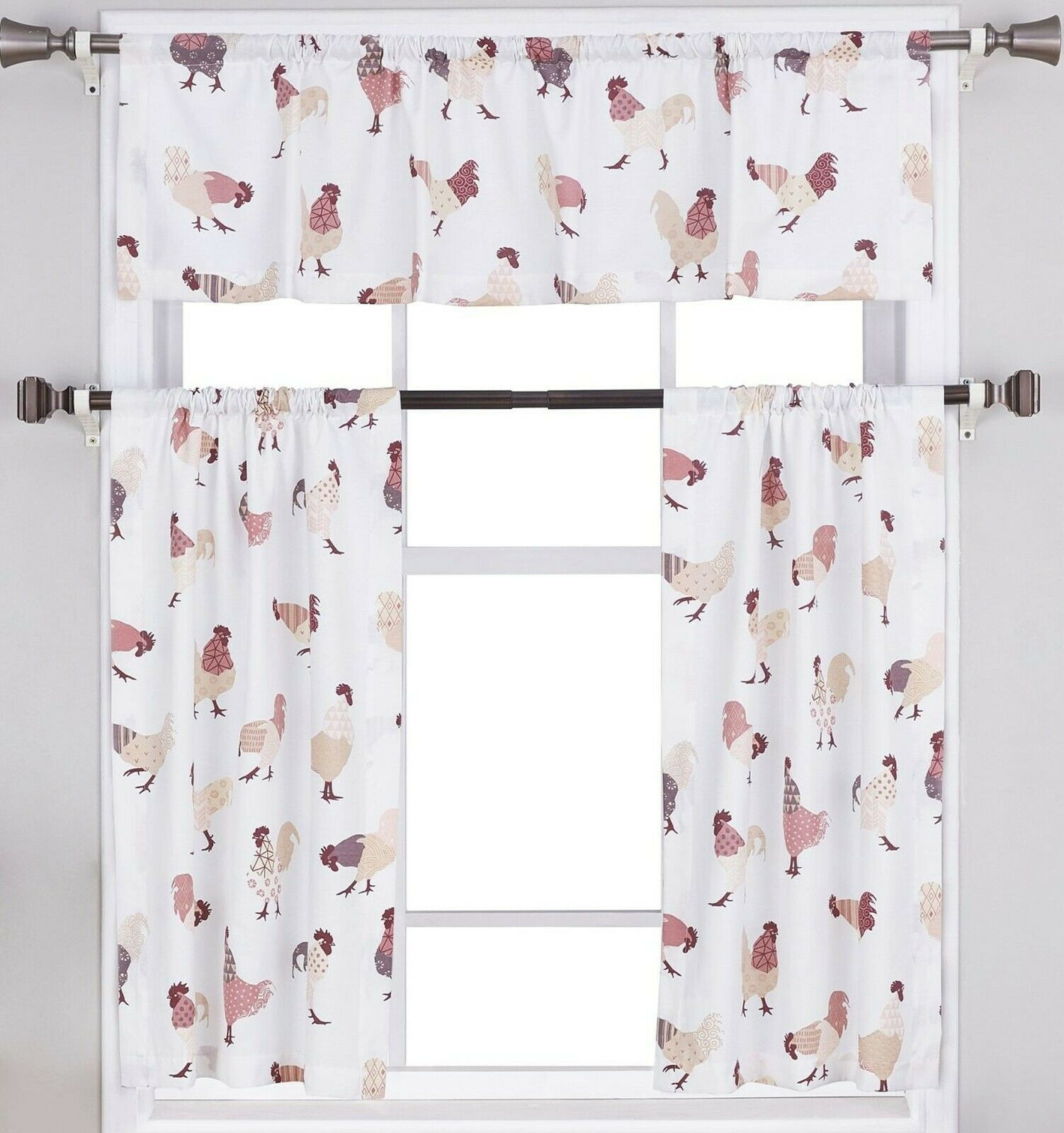 "Primary image for Small Windows Curtains Set:2 Tiers (24""x36"") & Valance (54""x14"") ROOSTERS, MS"