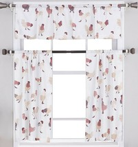 "Small Windows Curtains Set:2 Tiers (24""x36"") & Valance (54""x14"") ROOSTERS, MS - $19.79"
