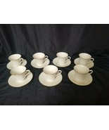 Lenox Special L26 Gold Rimmed ivory china footed Cups Saucers Set 7 made... - $138.60