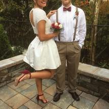 Knee Length Beaded Bodice Short-Sleeve A-Line Two Piece Wedding Dress - $205.00