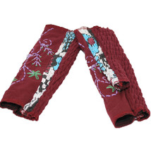 Cotton Floral Embroidered Hand Warmers Fingerless Gloves - Purple - $19.79