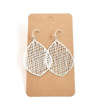 Filigree Metal Earrings, Silver Filigree Earrings, Silver Mesh Teardrop Earrings