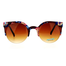 Floral Print Sunglasses Womens Round Circle Wing Top Frame Shades - $8.95