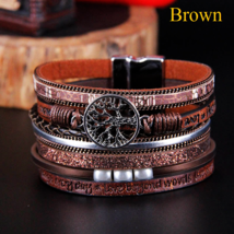 Bohemian Leather Bracelet Woman Pulseira Magnetic Buckle Multilayer Brac... - $6.95