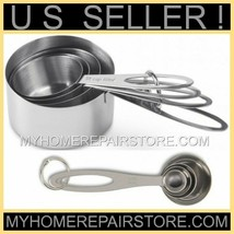 US SELLER! FREE S&H!—STAINLESS STEEL—MEASURING CUP & MEASURING SPOON—8 P... - £15.38 GBP