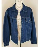 Levis Size Large Blue Jean Denim Men's Jacket w/ Harley Davidson Patch U... - $66.49