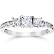 1ct Three Stone Princess Cut Diamond Engagement Ring 14K White Gold - $919.99