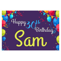 Purple Balloons Personalized Birthday Banner Party Decoration – Any Age - $42.08