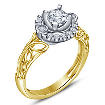 925 Sterling Silver gold Plated Round cut White Sim Diamond wedding Band Ring  - $77.50
