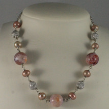 .925 SILVER RHODIUM NECKLACE WITH PINK PEARLS, PINK AGATE AND SILVER SPHERES image 1