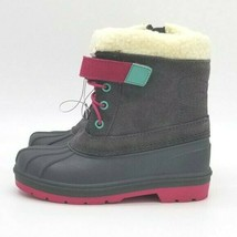 Toddler Girls Cat & Jack Valmai Grey Leather Magenta Thermolite Winter Boots NEW image 1