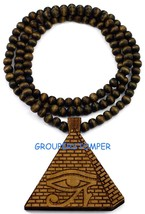 "Pyramid Egyptian Eye Of Horus New Wood Pendant With 36"" Beaded Necklace - $14.99"