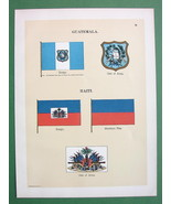 FLAGS of Guatemala & Haiti Coats of Arms - 1899 COLOR Antique Print - $8.77