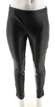 H Halston Pull-On Style Faux Stretch Leather Ponte Leggings Black 8 NEW ... - $48.49