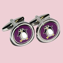Purple Round Penguin Cufflinks, silver with  design on cufflinks gift boxed
