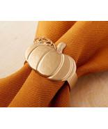 Pumpkin Napkin Ring Set of 4 Gold Napkin Holders Thanksgiving Dinners Pa... - $14.85