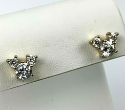 Vintage Walt Disney Mickey Mouse Gold Tone Prong Set Crystal Earrings - $26.14