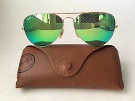 Ray Ban Aviator RB3025 112/19 58mm Sunglasses Gold With Green Mirror Lens - $62.50