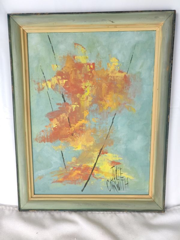 "Primary image for Autumn Leaves Painting Acrylic on canvas by Julie Corwith 18"" by 14"" Frame"