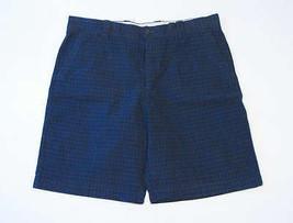 Izod Mens Navy Plaid Flat Front Chino Shorts 40 NWT - $25.98