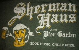 Sherman Haus And Bier Garten Green Beer Tee T-Shirt. Men's L Large. T17 - $11.69
