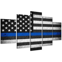 Large Framed Police Blue Line American Flag Canvas Print Wall Art Home 5... - $129.98