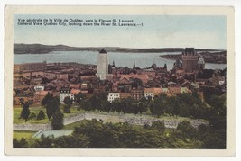QUEBEC CITY GENERAL VIEW LOOKING DOWN ST LAURENCE RIVER ~ 1940s postcard... - $4.95