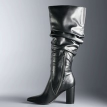 Vera Wang Wide Calf Black Leather Flicker Women's Tall Boots US 6 WIDE - $84.95