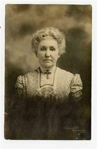 Older Woman in Fancy Dress with Big Cross Real Photo Postcard 1909 Shelb... - $17.82