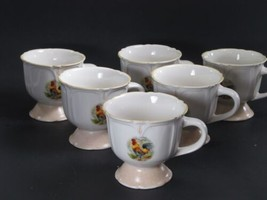 "Gibson Everyday Designs  Rooster 4"" Mugs Yellow trim Set of 6 - $21.34"