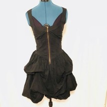 Romeo and Juliet couture dress black Juniors Zip Front Puff Criss Cross ... - $23.74