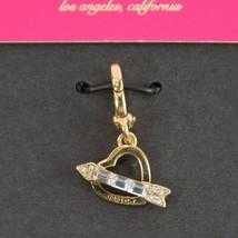 Juicy Couture Gold Tone Baguette Crystal Heart Arrow MINI Bracelet Charm... - $23.36