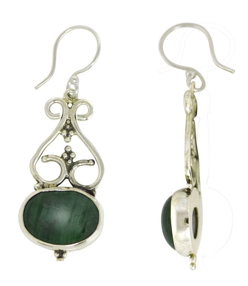 New Malachite Gemstone 925 Sterling Silver Earring For St. Patrick Day SHER0231
