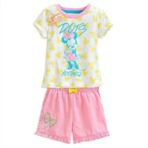 "Disney Store Girls Minnie Mouse ""Dots Adorable"" Pajama Short Sleep Set - $20.14"