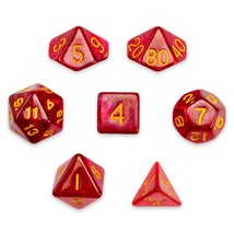 Translucent Polyhedral Dice Set, Red Glitter 7 Polyhedral Dice, With Vel... - $14.99