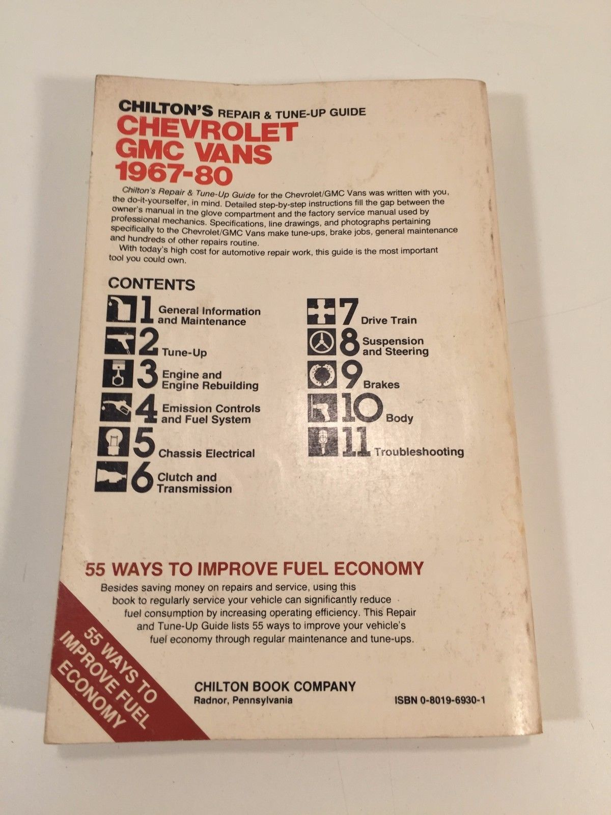 1967 - 80 Chilton Repair and Tune-Up Manual Chevrolet GMC Vans
