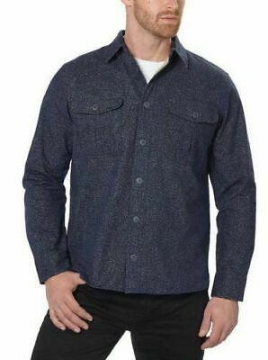 Freedom Foundry Men's Long Sleeve Navy Heather Flannel Button Up Shirt - L