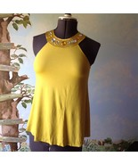 Autograph New York Women Yellow Sleeveless Beaded Neck Top Blouse Size M... - $19.79