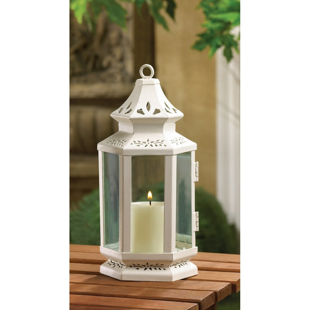 White Lantern Candle Holder, Antique Rustic Victorian Candle Lantern Holder image 2