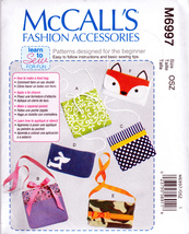 McCall's M6997 Fashion Accessories Sewing Pattern Purses Totes Easy Sew  - $5.95