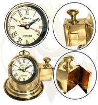 Brass Antique Desk Clock Nautical Binnacle Helmet Home Décor Vintage Clocks Gift - $31.40